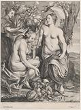 Allegory of abundance: Ceres holding a cornucopia at right and Pomona at left feeding fruit to a monkey
