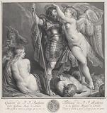 Hero crowned by Victory, who places a laurel wreath on his head, Venus and Cupid at left, Envy at left in the …