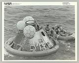 Astronauts in Lifeboat After Apollo 11 Splashdown