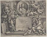 Frontispiece with oval portrait of Raphael, with three allegorical figures of the Arts supporting the tablet at center