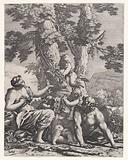 Putti and bacchantes at the bottom of a tree