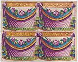 Sheet with two borders with purple drapery and floral designs