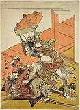 Tadanobu, one of the chief retainers of Minamoto Yoshitune slaying one of his would-be captors with a heavy go table …