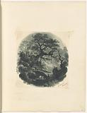 """Mounted ink wash landscape with trees and footbridge, signed """"J Smith, Worcester"""""""
