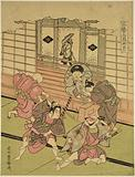 Four boys taking part in an amateur theatrical performance and a fifth seated in the veranda looking on