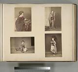 Japanese Women Wearing Kimono: Playing Origami (Paper Folding), Combing Her Hair, Writing, and Having an Umbrella