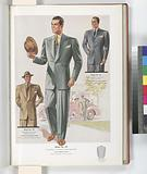 Model No 105, Young men's two-button peaked lapel style, Model No 106, Young men's one-button peaked lapel style