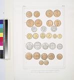 Monnaies brésiliennes de diverses epoques, (1,2,6, 7. Couivre; 3,5. Argent; 4. Or.)