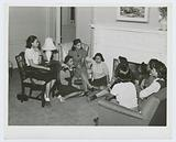 Meeting of NYA [National Youth Administration] girls with an instructor at the Good Shepherd Community Center, …
