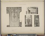 Salle du conseil, 1, Détail d'un panneau, 2, Cheminée, 3, Console, 4, Horloge mécanique