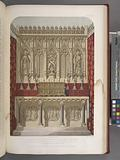 Altar and reredos designed by the late AW Pugin, carved in stone by Myers of London, and fitted-up by Hardman of …