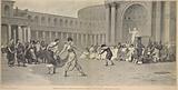 Représentation d'un combat de gladiateurs, donnée par des femmes, a Rome