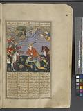 Isfandiyâr, who has cut off Arjâsp's head, holds the dead man's crown