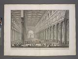 Cut-away view of the interior of the Basilica of S Paolo fuori della Mura (St Paul outside the Walls)…
