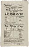 """Theater playbill for """"Die beiden Britten"""" and """"Der Sylvester-Abend, oder Die Nachtwächter,"""" presented by the Königlich …"""