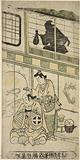 Naramura Tomijuro as a woman dressing the hair of a man-the actor Otoni Hiroji-seated by a hous, upon the shoji of …