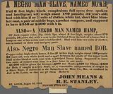 Reward notice for runaway slaves