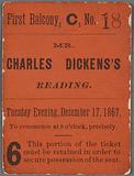 Ticket stub to unidentified reading on December 17, 1867