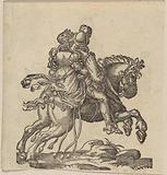 A Man and a Woman Together on a Horse Seen from Behind, Galloping to the Right [recto]