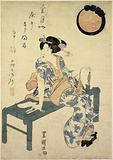 A woman seated on a wooden bench