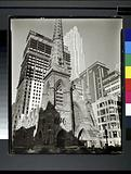 Rockefeller Center: Collegiate Church of St Nicholas in foreground, Fifth Avenue and 48th Street, Manhattan