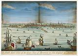 A south east view of the great town of Boston in New England in America