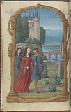 Full-page miniature of lovers walking in a garden, in April