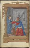"""Full-page miniature of St Matthew with his angel, Lower border reads """"Cum natus esset Ihesus"""""""