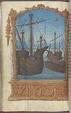 Full-page miniature of the Apostles in ships on the Sea of Galilee (probably illustrates Mark 4:35–40)