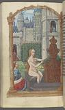 Full-page miniature of Bathsheba at her bath being spied upon by David