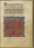 Miniature of demons, with text, initials, linefiller, placemarkers
