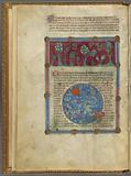 Miniature of flora on the earth and stars in the heavens, with text, initials, placemarkers, linefiller