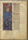 Three miniatures: Cain and Abel make offerings, Cain slays Abel, God confronts Cain
