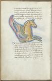 Miniature of the Winged Horse, with text and 1-line blue initial