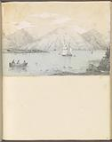 Mounted pencil lake view with sailboats, mountains