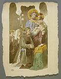 Project for a religious stained glass panel: Saint Joseph and the Child Jesus among a family in prayer