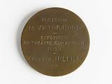 Medal bearing the effigy of Victor Hugo for the romantic theatre exhibition la Maison de Victor Hugo, 1921