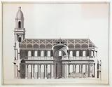 Longitudinal section of a church project