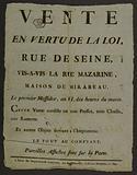 Sale in Virtue of the Law, Rue de Seine, Opposite the Rue Mazarine, Maison de Mirabeau, The first Messidor, year VI, …