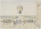 Kidnapping of a hot air balloon in front of a castle terrace in 1783