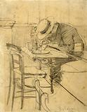 The painter Helleu seated at a café terrace