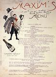 Portrait of Arlette Dorgère (?) At Maxim's on 16 April 1908, executed on the back of a menu of this restaurant …
