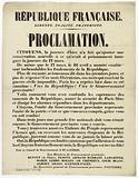 French Republic. Freedom, Equality, Fraternity. Proclamation.