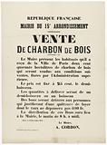 French Republic. Town Hall of the 15th Arrondissement. Sale of charcoal.