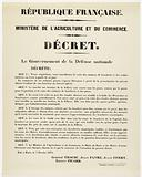 French Republic. Ministry of Agriculture and Trade. Decree. The Government of National Defense. Decree: Art.