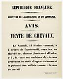 French Republic. Ministry of Agriculture and Trade. Notice. Sale of Horses.