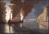Fireworks on the Seine with a temple of commerce given on the occasion of the peace festivals on 18 Brumaire An X