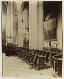 Choir stalls, view taken from the steps of the high altar towards the nave, Saint-Gervais-Saint-Protais church, 4th …