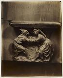 Bas-relief of mercy, Couple dancing at the feast of fools, Saint-Gervais-Saint-Protais church, 4th arrondissement, Paris