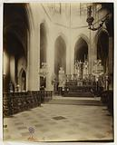 Choir stalls seen towards the high altar, Saint-Gervais-Saint-Protais church, 4th arrondissement, Paris
